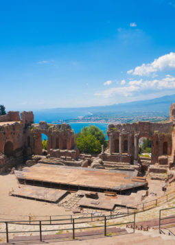 25113003 - greek theater in taormina with the etna volcano in the back in sicily, italy
