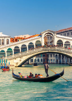 27511023 - gondola near rialto bridge in venice, italy